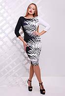 Черно-белое женское платье по фигуре Белый лист сукня Лоя-3Ф д/р