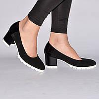 Туфли на каблуке кожаные или из натурального замша, индивидуальный пошив, качество, р.36-41,  Sev Mar S1502