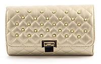 Компактная каркасная стильная женская оригинальная стеганая сумка клатч  art. 939 золото
