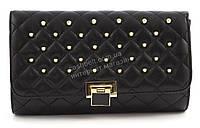 Компактная каркасная стильная женская оригинальная стеганая сумка клатч  art. 939 черная