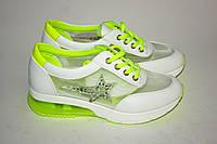Ярко-салатовые женские кроссовки, фото 1