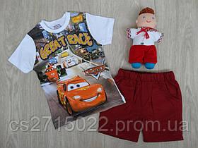 """Летний набор """"Cars"""" (шорты+футболка) для мальчика бордовый р.2"""