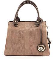 Стильная  вместительная женская сумка саквояж под рептилию GORANGD art. D7405 розовая