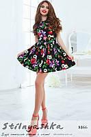 Летнее платье Крупные цветы черное