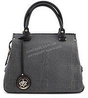 Стильная  вместительная женская сумка саквояж под рептилию GORANGD art. D7405 серая