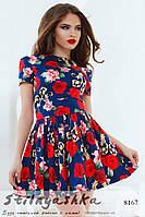 Летнее платье Крупные цветы синее