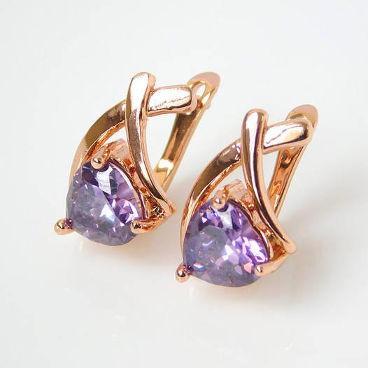 Серьги 53103/2 непарные, размер 18*11 мм, светло-фиолетовые камни, позолота РО