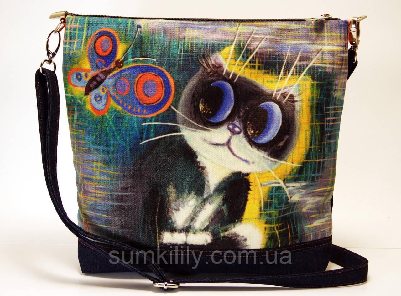 Джинсовая сумочка Кот и радужная бабочка