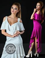 Шикарное платье длинное с декольте и открытыми плечами