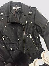 Куртка женская  кожаная черная King Kong, фото 2