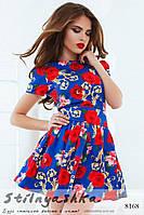Летнее платье Крупные цветы индиго