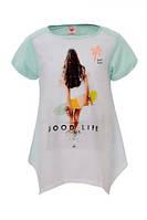 Детская футболка для девочки Glo-Story:GPO-3937 голубой