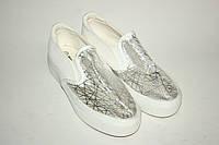 Женские мокасины (слипоны); черные, белые, фото 1