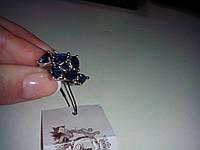 Милое кольцо с танзанитами в серебре. Кольцо с камнем танзанит (лаб.)