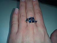 Кольцо с камнем сапфир в серебре. Таиланд.