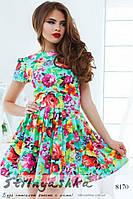 Летнее платье Крупные цветы ментол