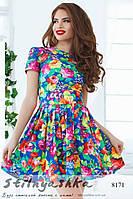 Летнее платье Крупные цветы электрик