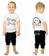 """Детский комплект с накатом Футболка """" Smile """" и Бриджи  для мальчика , фото 1"""