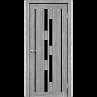 Межкомнатная дверь VENECIA DELUXE эш-вайт черное стекло VND-05