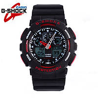 Стильные Часы Casio G-Shock GA-100 black s red (ЧЕРНЫЙ С КРАСНЫМ) / Касио ГА-100 мужские часы, копия