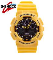 Часы Casio G-Shock GA-100 (ЖЕЛТЫЙ), ударостойкие, спортивные, мужские часы, копия