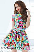 Летнее платье Крупные цветы голубое