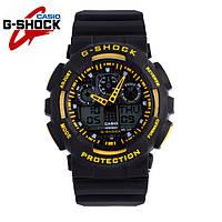 Часы Casio G-Shock GA-100 (ЧЕРНЫЕ С ЖЕЛТЫМ) ударостойкие, спортивные, мужские часы, копия