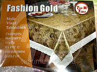 Скатерть 137*180 см с покрытием под золото на подложке NON WOVEN с кружевом