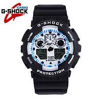 Часы Casio G-Shock GA-100 (ЧЕРНЫЕ С БЕЛЫМ ЦИФЕРБЛАТОМ) ударостойкие, спортивные, мужские часы, копия