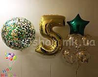 Композиция для детского праздника с циферкой, фонтаном и шаром-гигантом с конфетти
