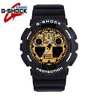 Часы Casio G-Shock GA-100 (ЧЕРНЫЕ С ЗОЛОТОМ) ударостойкие, спортивные, мужские часы, копия
