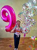 Фонтан с шарами с конфетти и циферка для детского праздника