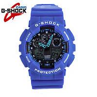 Часы Casio G-Shock GA-100 (СИНИЕ) ударостойкие, спортивные, мужские часы, копия
