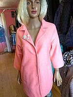 Пальто 3/4 шерсть розовое