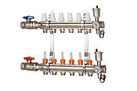 """Коллектор для отопления ICMA K025 1""""x5 выходов с расходомером и запорными вентелями ручными"""