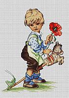 """Набор для вышивания крестиком (дети) """"Мальчик""""  Старые немецкие открытки (1910-1950гг)."""