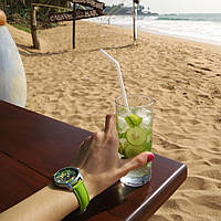 Часы наручные Пальмовые листья зеленый