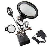 Держатель плат с увеличительной лупой ZD126-3 и лампой на 5-ти светодиодах