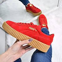 a384a851 Кроссовки криперы женские Puma Rihanna красные, спортивная обувь
