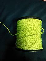 """Верёвка """"Крокус""""  2мм  салатовая с светоотражающей нитью"""