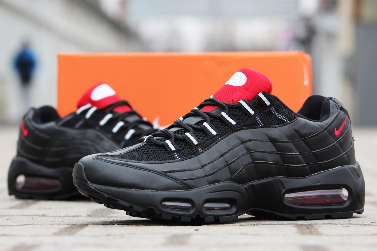 Модные мужские кроссовки Nike air max 95 черные с красным