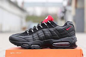 Модные мужские кроссовки Nike air max 95 черные с красным, фото 3