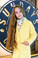 """Стильное детское пальто """"Обояшка"""", желтый"""