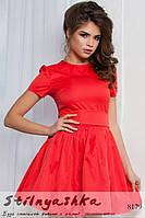 Красное платье полу клеш с короткими рукавами