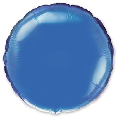 Фольгированный шар круг синий металик 44 см