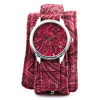 Часы наручные Розовые узоры тканевый ремешок