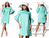 Платье-шифт мини прямое из коттона на кокетке с асимметричными оборками на коротких рукавах и боковыми кармашками