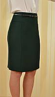 Юбка женская классическая узкая до колена, зелёная, 6305 MEES Турция, фото 1