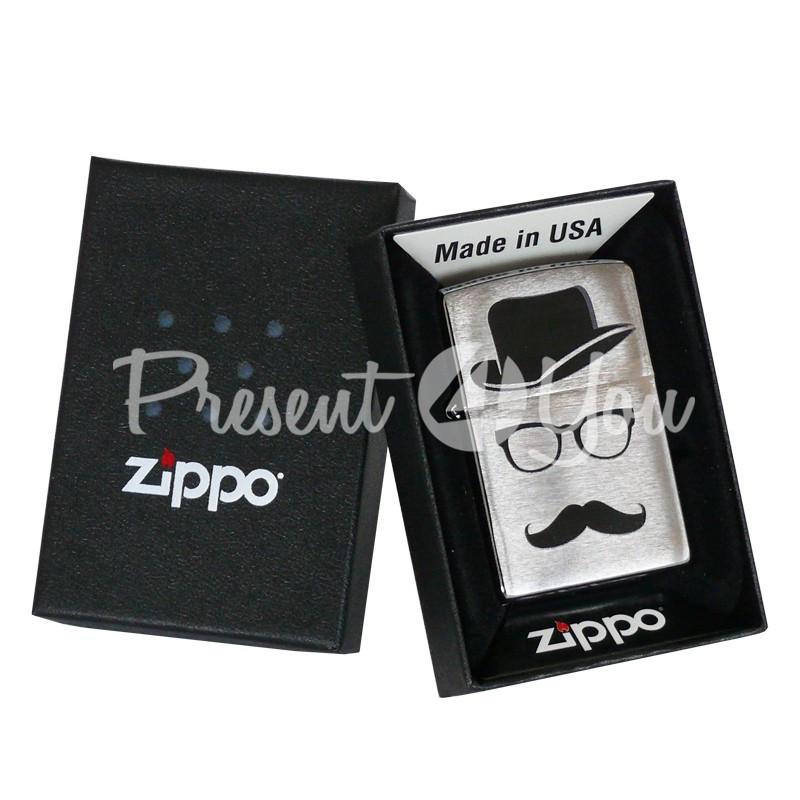Зажигалка Zippo Top Hat Glasses And Mustache 28648
