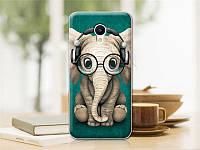 Оригинальный чехол панель накладка для Meizu M5 с картинкой слон в наушниках и очках